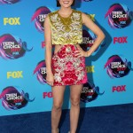 Hale slayed her Teen Choice Awards 2017 appearance with a two-piece Fausto Puglisi dress, with gold top and bright pink mini skirt. (Photo: WENN)