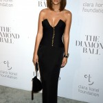 The model stepped out at Rihanna's 2017 Diamond Ball in a beautiful black strapless dress with gold buttons. (Photo: WENN)