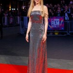 "The actress looked sensational at the premiere for her film ""The Killing of a Sacred Deer"" ath the BFI London Film Festival in a dazzling off-the-sholulders silver gown by Prada. (Photo: WENN)"