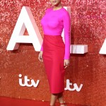 The singer put on a bright display at the 2017 ITV Gala in a minimalistic pink color block top, pencil skirt combo, and matching strappy sandals. (Photo: WENN)
