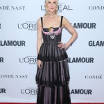 Nicole Kidman stunned at the 2017 Glamour Women of the Year Awards in a Dior black tulle embroidered bustier dress featuring a bright pink bird embellishment. (Photo: WENN)