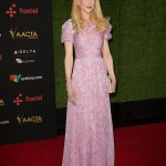 Kidman donned a romantic floor-length pink-lavender dress by Carolina Herrera at the 2018 AACTA International Awards. (Photo: WENN)