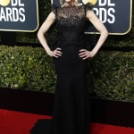 The Big Little Lies star dominated this year's Golden Globes red carpet rocking a jaw-dropping sheer shimmering black Givenchy dress. (Photo: WENN)