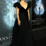 "Natalie Portman stunned at the premiere of her movie ""Annihilation"" dressed in a plunging black tulle Valentino gown with embellished shoulders. (Photo: WENN)"