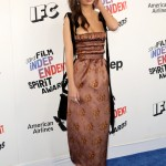 Emily Ratajkowski wowed at the Film Independent Spirit Awards 2018 in a Brock Collection brown ankle-length dress with floral print. (Photo: WENN)