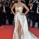 "Lima flashed her thigh in a daring cutout cream gown by Zuhair Murad at the screening of the movie ""Burning"" at Cannes Film Festival 2018. (Photo: WENN)"