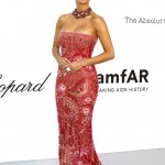 The singer put on a busty display at the 2018 amfAR gala in a semi-sheer pink strapless dress with intricate embroidery detailing. (Photo: WENN)