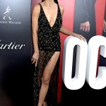 "Adriana Lima wore a V-neck, black bodysuit dress by Roberto Cavalli decorated with beaded detailing at the ""Ocean's 8"" premiere. (Photo: WENN)"