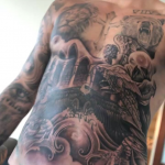 Justin Bieber threw all caution to the wind and covered his entire torso in ink. The work is so intense it literally goes into his bellybutton. (Photo: Instagram)