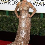 The actress turned heads as she worked the red carpet of the 2017 Golden Globes in her glamorous Zuhair Murad embroidered gown with cold-shoulder cutouts. (Photo: WENN)