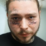 "Post Malone latest ink outdid everything he's ever stamped on his body before. The rapper revealed a face tat that read ""always tired"" under his eyes. (Photo: Instagram)"