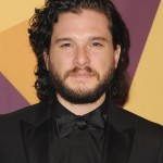 Game of Thrones's star Kit Harington rocking his iconic curly hair do at HBO's 2017 Golden Globe after party. (Photo: WENN)