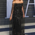 Vergara was a showstopper at the 2018 Vanity Fair Oscar party in a black off-the shoulder gown by Ralph and Russo featuring a see-through cape. (Photo: WENN)