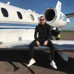 McGregor doesn't sit in first class. He sits on the wing of his own private jet. (Photo: Instagram)