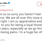 "Jessica Alba herself offered an apology and said her team was ""all over the issue."" (Photo: Twitter)"