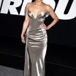 "Michelle looked like a steel goddess at the ""Fate of the Furious"" premiere in strapless, figure-hugging plunging silver gown. (Photo: WENN)"
