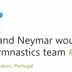 I think you meant to say *roll* his way into the Brazilian gymnastics team. (Photo: Twitter)