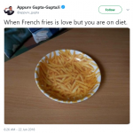 There'll always be French fries on my plate—why way or another. (Photo: Twitter)