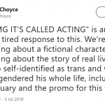 Being queer is not a cosplay/stepping stone to an Academy Award. (Photo: Twitter)