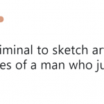 Sketch artist immediately draws spot on perfect sketch. Guy is arrested 1 hour later. (Photo: Twitter)
