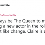 Long live our one true Queen, Claire Foy! (Photo: Twitter)