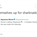 Plot twist: Sharknado was just the aftermath of Aquaman and Storm hooking up. (Photo: Twitter)