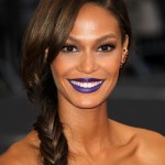 "Joan Smalls shake things up at red carpet of the ""Charles James: Beyond Fashion"" Costume Institute Gala with an unexpected bold blue lipstick. (Photo: WENN)"