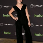 The actress donned an elegant plunging black velvet jumpsuit with wide flowy legs and pointy heels at the 2016 PaleyFest and her hair up in a messy bun. (Photo: WENN)