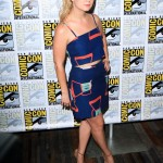 Lourd kept things simple at the 2016 Comic-Con by wearing a spaghetti-strap crop top and matching mini skirt with geometrical print in bright orange and light blue. (Photo: WENN)