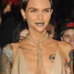 "Ruby Rose looked out of this world with a bold ubber metallic lipstick that perfectly matched her head-to-toe gold ensemble at the premiere of ""Return of Xander Cage."" (Photo: WENN)"
