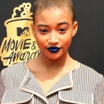 Amandla Stenberg decided to make her lips the focal center of her entire look at the 2017 MTV Movie and TV Awards with a vibrant royal blue metallic lip. (Photo: WENN)