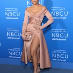 The singer looked stunning at the blue carpet of NBC and Universal's 2017 upfront event wearing a light pink Valentino dress with off-the-shoulder neckline and daring thigh-high slit. (Photo: WENN)
