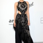 """The """"Inglorious Bastards"""" star looked modernly elegant in an eye-catching black Emilia Wickstead cutout jumpsuit featuring a bold ostrich feathered trim. (Photo: WENN)"""