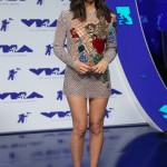 """The """"Six"""" star wore the shorted dress ever at the 2017 VMA's in a sparkly embroidered Balmain mini dress with an elaborate floral and sexy angel design. (Photo: WENN)"""