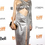 """The actress was an iron vision in an asymmetrical cutout silver dress by Prabal Gurung featuring a daring thigh high split at the """"In the Fade"""" premiere at the TIFF festival. (Photo: WENN)"""
