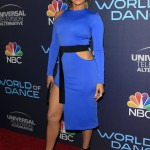 "Lopez showed off her stellar figure in a royal blue David Koma dress with daring cutouts on the hip and racy thigh-high slit while at the ""World of Dance"" celebration. (Photo: WENN)"