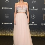 Kruger lead glamour at the 2017 BAMBI awards red carpet in a delicate strapless Giambattista Valli gown in blush pink complete with a embellished ruffled petals fishtail hem. (Photo: WENN)