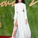 Winnie attended the 2017 British Fashion Awards fuzzy white sweater paired with a voluminous mint green skirt by Brandon Maxwell featuring a daring thigh-high slpit. (Photo: WENN)