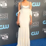 """The """"Troy"""" star was one of the best dressed at the 2018 Critics' Choice Awards in a Vera Wang dress featuring a silver chainmail bodice and cream floor-length skirt. (Photo: WENN)"""