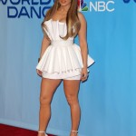"""Jenn served up some leg action wearing an eye-catching Ester Abner Resort 2018 white pleaded minidress that accentuated her tiny wait at the """"World of Dance"""" press junket. (Photo: WENN)"""