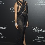 Sara Sampaio flaunted her enviable legs wearing a thigh-high slit, semi sheer black dress designed by Berta Bridal at the Chopard Secret Night Party 2018 in Cannes. (Photo: WENN)