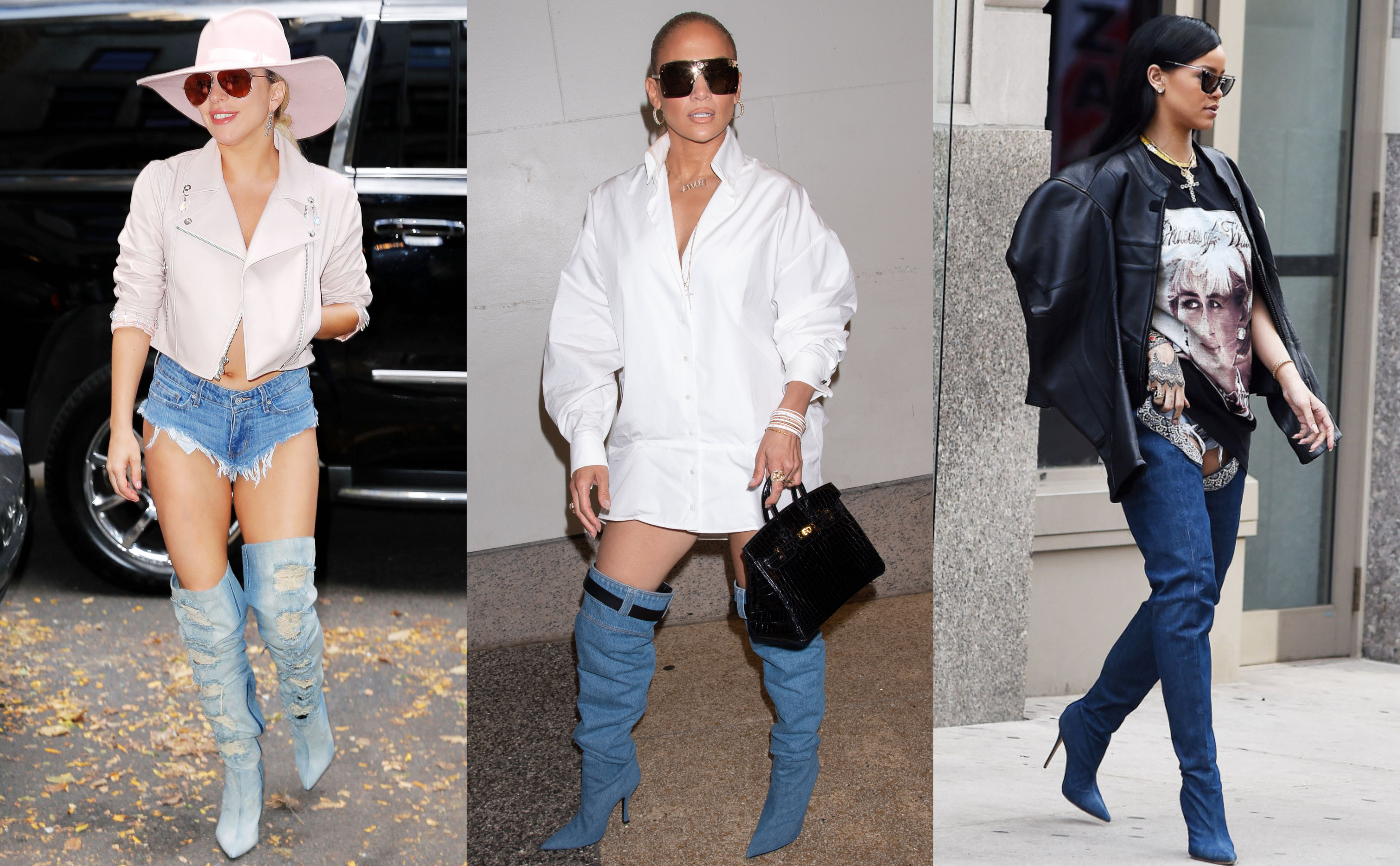 I mean, of course denim footwear is obviously inspired in jeans—but that doesn't mean they have to look like a pair of pants! Though some celebrities seem to love the resemblance. (Photo: WENN)