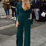 The 31-year-old actress stunned in a menswear-inspired outfit consisting of a stylish emerald-green jumpsuit paired with a matching peplum jacket. (Photo: WENN)