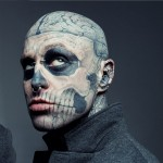 Zombie Boy, who recently passed away at age 32, was known for being the most inked model in the industry. He had a full facial tattoo of a skeleton-style face and zombie-like brain. (Photo: Instagram)