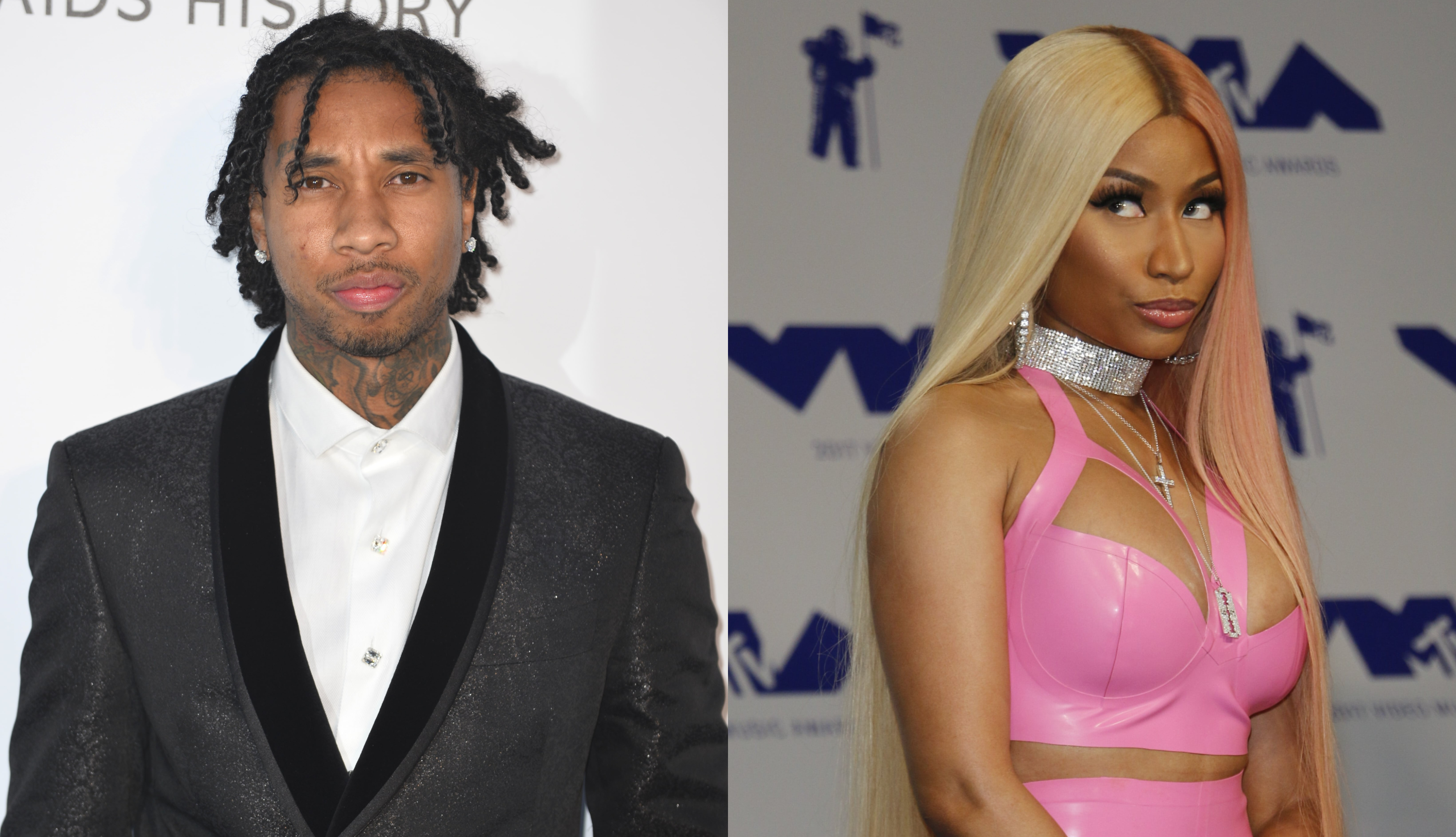 Nicki Minaj accidentally exposed Tyga's secret hair transplant during Twitter feud with ex Safaree Samuels. (Photo: WENN)