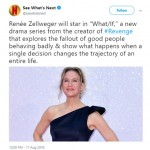 "The streaming service confirmed Zellweger as the star of their upcoming social thriller series ""What/If"". (Photo: Twitter)"