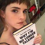 "Dear Emma Watson, if you're trying to promote that book you're holding, you shouldn't wear that cool ""banging"" haircut—because that's all we can stare at in this picture! (Photo: Instagram)"