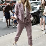Blake Lively looked extremely comfortable in a casual Vivienne Wood mauve suit with grayed hems and brogues that added to her day off vibe while in New York. (Photo: WENN)