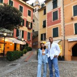 The couple's pose while wearing color coordinated ensembles in Portofino, Italy for what would be their very last Instagram together. (Photo: Instagram)