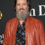"Despite his floral shirt, Jim Carrey gave us some major lumberjack vibes at the premiere of ""I'm Dying Up Here."" (Photo: WENN)"